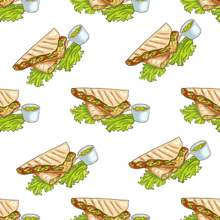 scetch: Colorful Mexican food seamless pattern background. Color quesadilla scetch and color background. Illustration