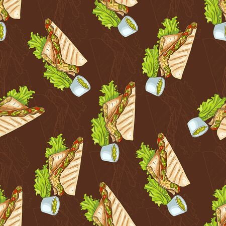 scetch: Colorful Mexican food seamless pattern on dark background. Color quesadilla scetch and color background.
