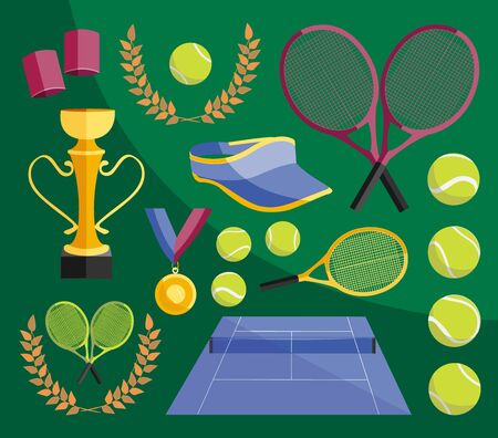 Colorful vector illustration of various stylized tennis icons set Illustration