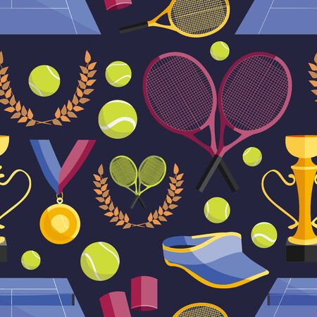 keds: Colorful vector illustration of various stylized tennis set pattern