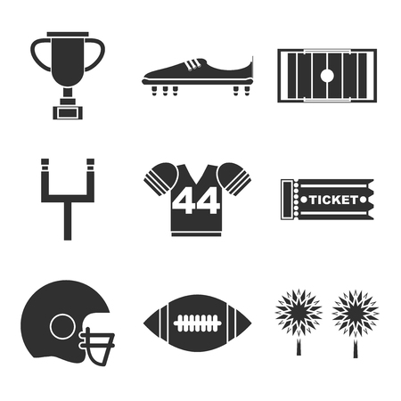 quarterback: American football icons set. Helmet and sport, touchdown and quarterback, trophy game. Vector illustration