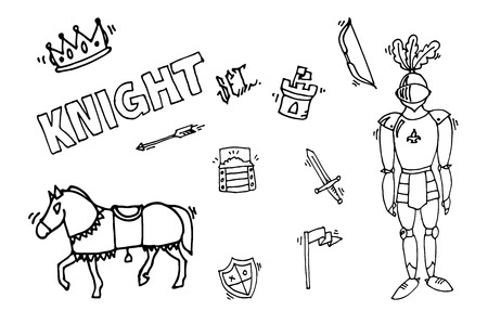 legendary: Medieval kingdom legendary armored knight warrior with lance and attributes flat icons set abstract isolated vector illustration
