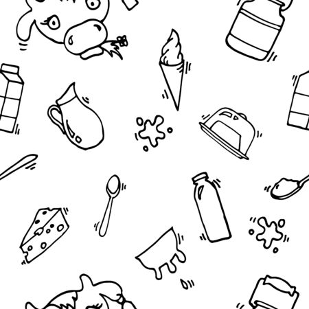 milk production: Milk, cheese production, cow vector icons pattern Illustration