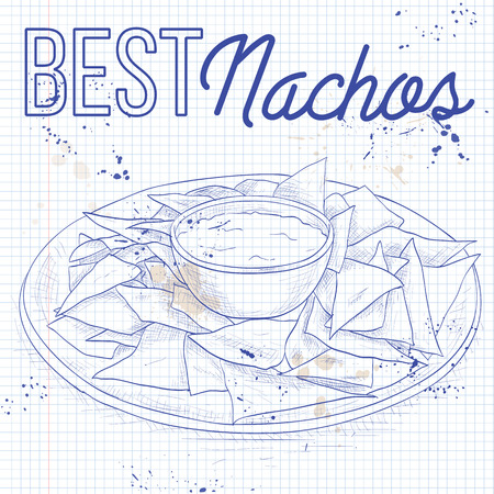 chips and salsa: Nachos recipe on a notebook page. Tortilla Chips. Detailed Vector Icon. Series of food and drink and ingredients for cooking.