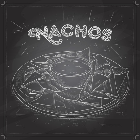 chips and salsa: Nachos scetch on a black board. Tortilla Chips. Detailed Vector Icon. Series of food and drink and ingredients for cooking.