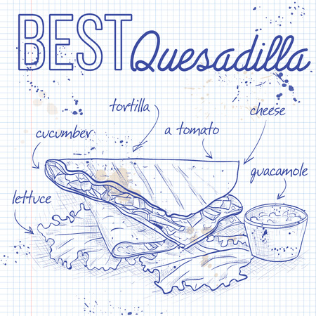 Quesadilla recipe on a notebook page. Mexican traditional food background with quesadilla. Hand drawn sketch vector illustration. Vintage Mexico cuisine banner