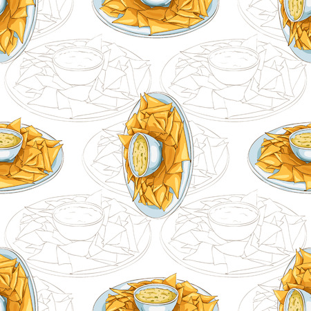 scetch: Colorful Mexican food seamless pattern background. Color nachos scetch and color background.