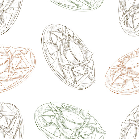 scetch: Mexican food seamless pattern background. Nachos scetch background.