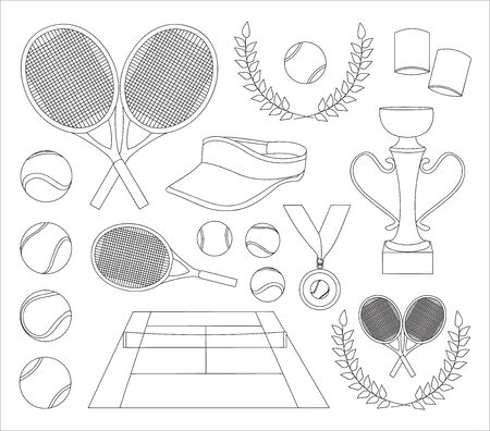 keds: Vector illustration of various stylized tennis icons set