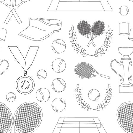 keds: Vector illustration of various stylized tennis set pattern