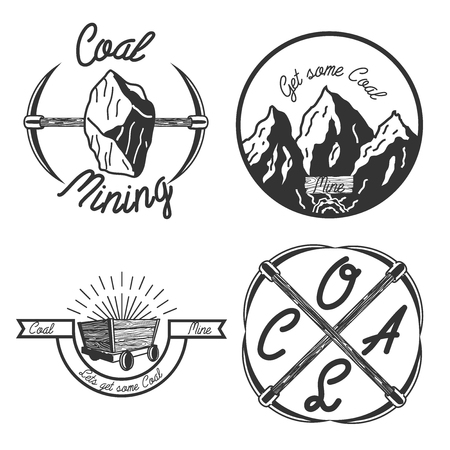 gold rush: Set of vintage coal mining emblems, labels, badges. Monochrome style