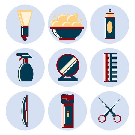 set of men hair styling: Barber Shop vintage flat style icons set Illustration