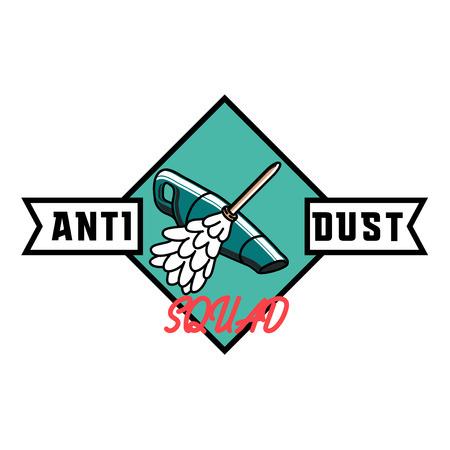 dirty carpet: Color vintage cleaning service emblem.