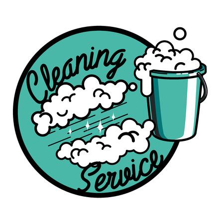 servicio domestico: emblema de la vendimia servicio de limpieza color.