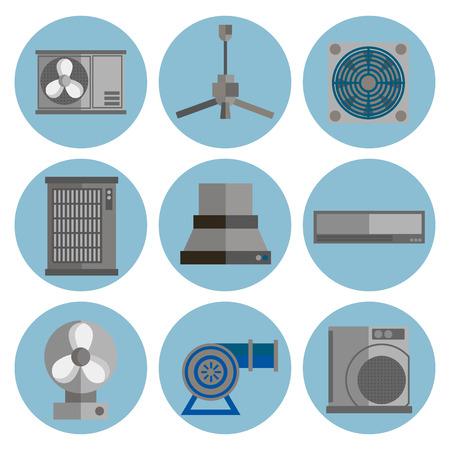 Conditie systeem platte pictogrammen set. Conditioners pictogrammen geïsoleerd op een witte achtergrond. Stock Illustratie