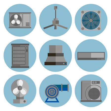 Conditioning system flat icons set. Conditioners icons isolated on white background. Illustration