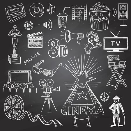 arts and entertainment: Cinema and entertainment arts hand drawn decorative icons set on black board