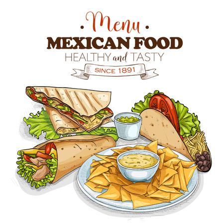 Vintage Menu Mexican Food. Vector illustration