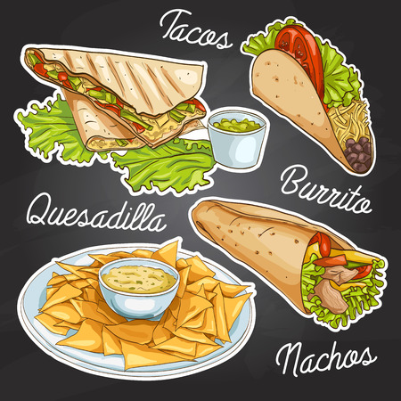 Mexican food on a black board. Vector illustration