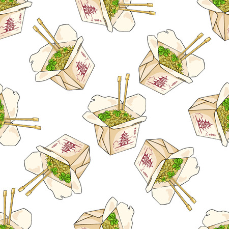 thai noodle: Seamless pattern color chinese noodles box. Vector Illustration