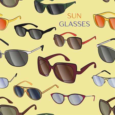 Set of the different sun glasses pattern. Vector