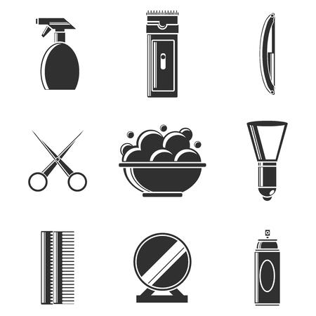 set of men hair styling: Barber Shop vintage icons set. Vector illustration Illustration