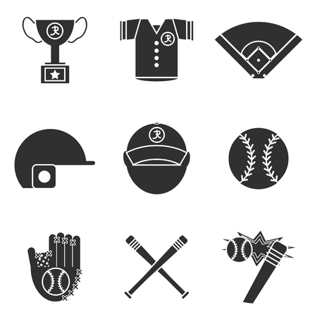 big timer: Baseball icons set. Vector illustration
