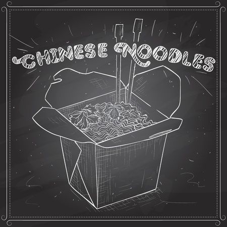 scetch: chinese noodles box scetch on a black board.
