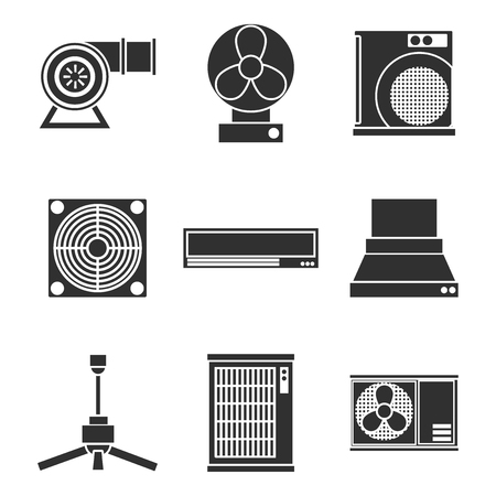 Conditioning system icons set.