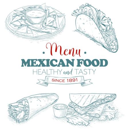 scetch: Scetch mexican food menu.