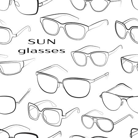 sun glasses: Set of the different sun glasses pattern. Illustration
