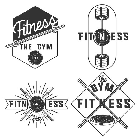 cross bar: Set of vintage fitness, gym emblems, labels and design elements