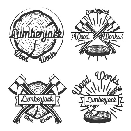 lumberjack: Set of vintage lumberjack labels and design elements. Vector illustration.