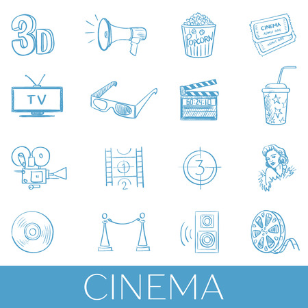 cinematographer: Hand drawn cinema icon set.