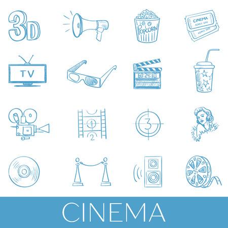 cinematographer: Hand drawn cinema icon set.