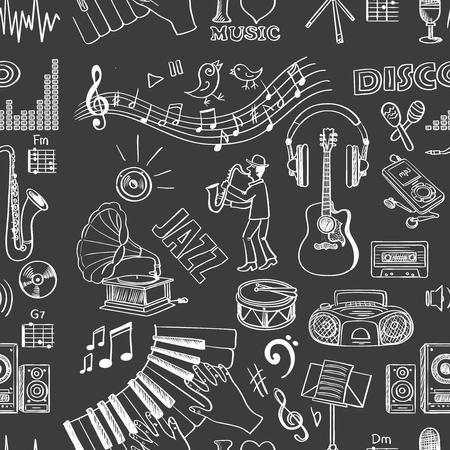 Hand drawn music pattern. Stock Illustratie