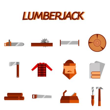 woodcutter: Lumberjack woodcutter flat icons set of wood timber industry isolated vector illustration