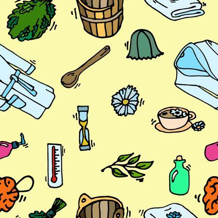 steam bath: Pattern of sauna icons. Illustration