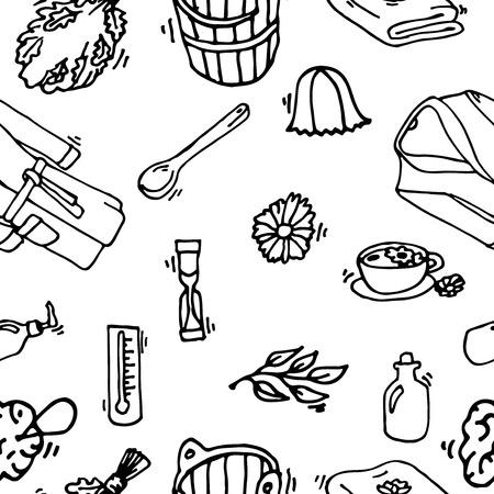 finland sauna: Pattern of sauna icons. Banya elements. Illustration