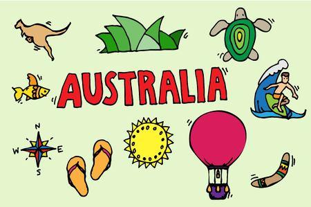 Australia tourism nature and culture icons set.
