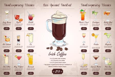 Back Drawing horisontal cocktail menu design on vintage background 일러스트