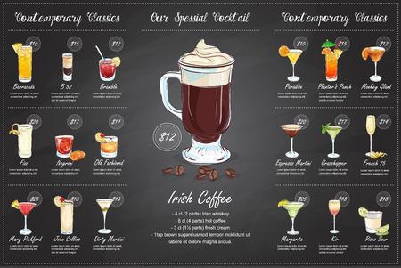 Back Drawing horisontal cocktail menu design on blackboard background