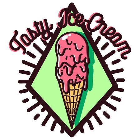 Color vintage Ice Cream emblem. Illusztráció