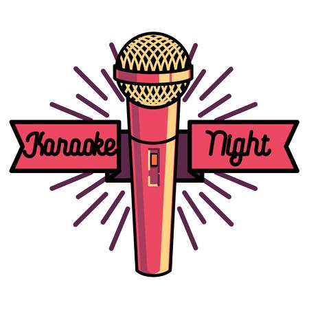 Color vintage karaoke emblems, label, badge and design elements. Karaoke club emblem. Microphones isolated on white background. Vector illustration. Ilustrace