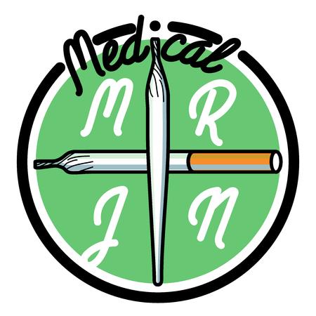 hashish: Color vintage medical marijuana emblem. Cannabis.