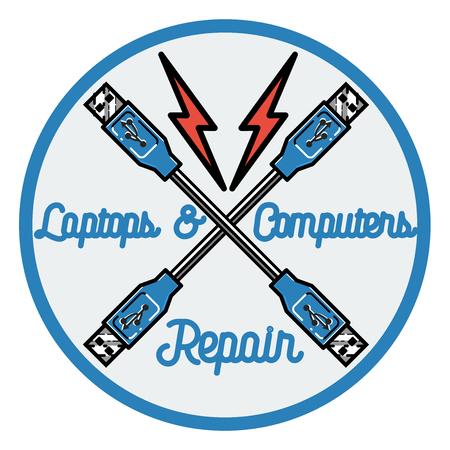 Color vintage repair computers and laptops emblem.
