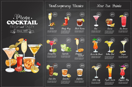 Front Drawing horisontal cocktail menu design on blackboard background Vectores