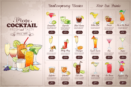 Front Drawing horisontal cocktail menu design on vintage background Vettoriali