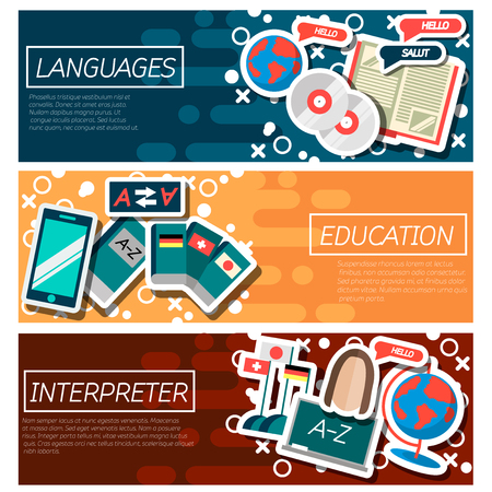 dialect: Set of Horizontal Banners about Languages education.