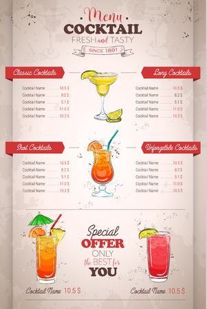 Drawing vertical color cocktail menu design on retro background